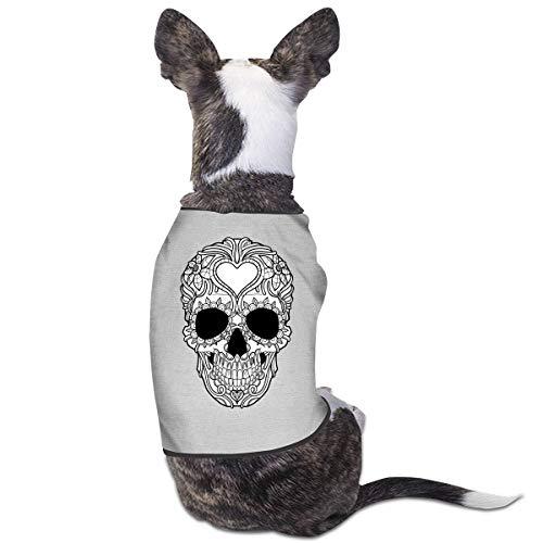 Dog Cat Pet Shirt Cute Puppy Apparels Clothes Kitten Vest Soft Thin Skull Tattoo Illustration 3 Sizes