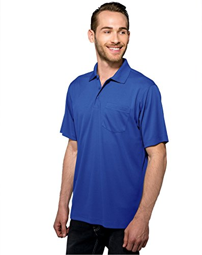 (Tri-Mountain Men's 5 oz Moisture Wicking Polyester Shirt w/Pocket Royal X-Large)