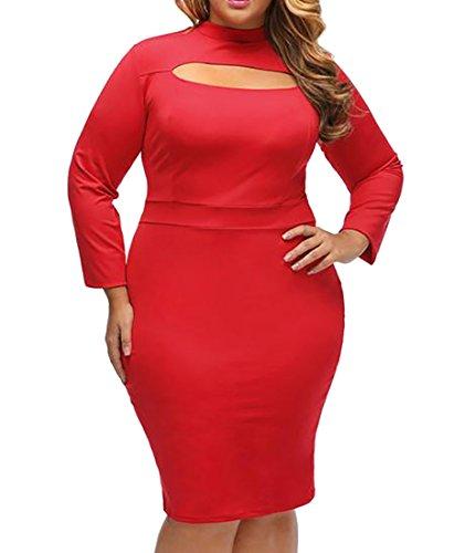 Cruiize Femmes Manches Longues Découpées Épissure Solide Haute Robe Clubwear Cou Rouge