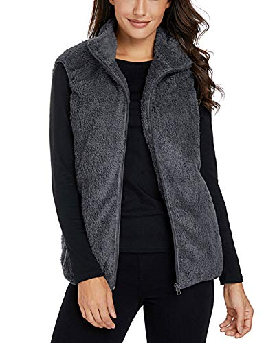 Amormio Women's Warm Furry Full-Zip Faux Fur Vest Waistcoat Fleece Jackets Cardigan Outerwear with Pockets (Grey, X-Large)
