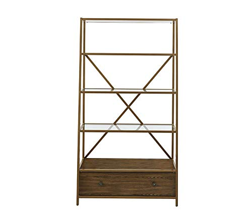 - Wood & Style Office Home Furniture Premium Moriah Pyramid Bookcase Etagere, Brass