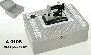 DonRegaloWeb - Costurero de madera en tono gris claro con la tapa decorada con una máquina de coser antigua: Amazon.es: Hogar