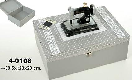DonRegaloWeb - Costurero de madera en tono gris claro con la tapa decorada con una máquina