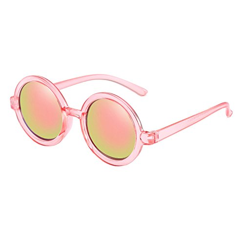 Armear Vintage Round Sunglasses for Women Men Mirrored Lens UV Protection Pink Clear Frame