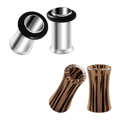 BIG GAUGES 2 Pairs Surgical Steel 4g Gauge 5mm Single Flesh Tunnel Coconut Wood Double Flared Saddle Piercing Ear Earring Plugs BG2683 (Double Wood O-ring Plugs)