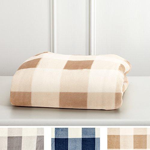 Great Bay Home Super Soft Plaid Buffalo Check Velvet Plush Bed Blanket. Flannel Fleece All Season Lightweight Blanket. (Full/Queen, ()