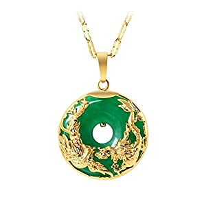 WANZIJING Green Jade Necklace with Gold Dragon Phoenix, Lucky Donut Amulet Pendant Necklace 18'' for Mother Jewelry Gift