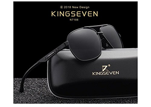 Genuine Kingseven quality sunglasses 2018 fashion for men polarized and UV400 (Black/Grey)