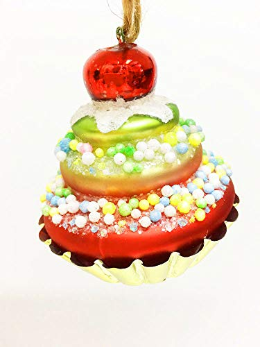 (Glitterville Glass Cherry Topped Foil Tart Glass Christmas Tree Ornament)