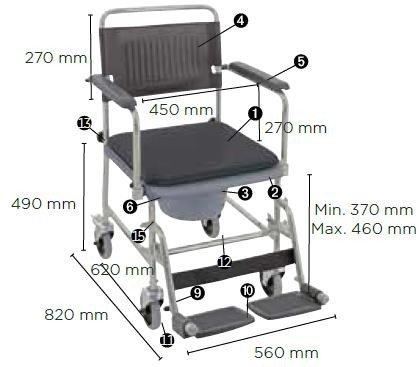 Invacare Silla de ruedas WC con inodoro 2 ruedas con freno Cascata