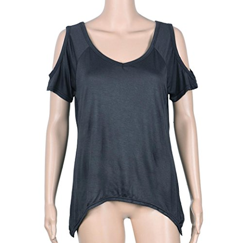 Neck Courte paule Chemisier Fonc Kingwo Femmes Hors V Femmes Dcontracte Manche T Sexy Shirt Gris pFZqx0qwA