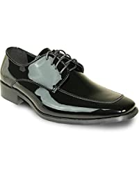VANGELO Men's Tuxedo Shoes TUX-3 Fashion Square Toe with Wrinkle Free Material - Wide Width Available