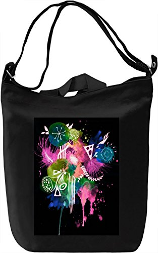 Black Flowers Print Borsa Giornaliera Canvas Canvas Day Bag| 100% Premium Cotton Canvas| DTG Printing|