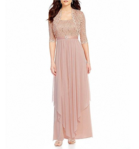 Bride Long Sequined Dress - R&M Richards Womens Sequin Lace Long Jacket Dress - Mother Of The Bride Dress (Blush, 12)