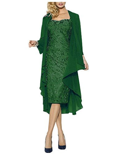 Gasa Corazón de JAEDEN Mujer Vestido Corto Forma en Madre Noche del Encaje Verde la con Vestido Chaqueta para qYzBqp
