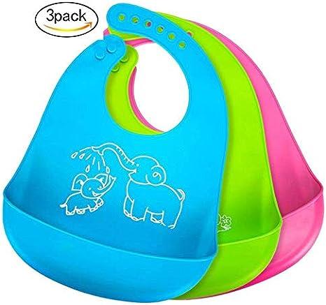 Baberos del bebé, BeYself 2 Pack Silicona Impermeable bebé baberos fácilmente limpia Limpie Silicona Alimentación baberos - cómodo suave impermeable bebés mantienen manchas fuera - Azul&Verde: Amazon.es: Bebé