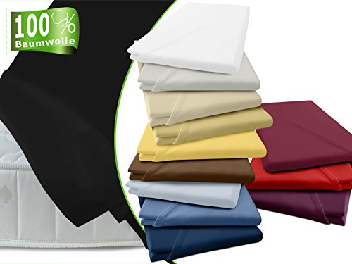 Betttuch aus 100% ägyptischer Baumwolle - ohne Gummizug - erhältlich in 6 Größen & in 18 ausgesuchten Farben - hochwertig verarbeitet, 150 x 275 cm, schwarz