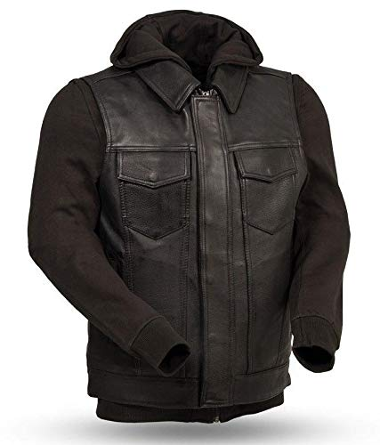 Anarchy Hoody - First Men's Motorcycle Son of Anarchy Style Leather Vest W/Full Removable Hoodie (2XL Regular)
