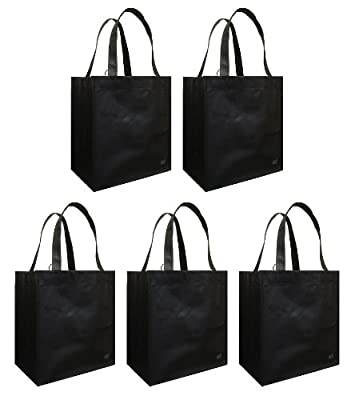 Reusable Grocery Tote Bag Black 5 Pack by Duratech Group