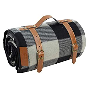 PortableAnd Extra Large Picnic & Outdoor Blanket 3 Layers for Water-Resistant Handy Mat Tote Spring Summer Black and White Striped Great for The Beach,Camping on Grass Waterproof Sandproof