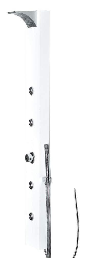 Sanlingo colore Pannello doccia con soffione a cascata//pioggia e idromassaggio in alluminio Bianco