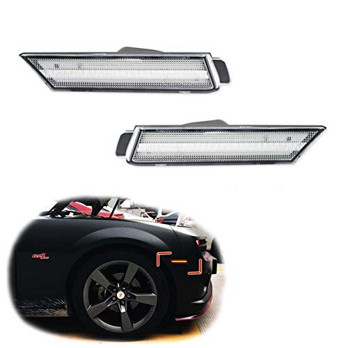 GTINTHEBOX 2PCS 3D Clear Lens Amber 24-SMD LED Front Bumper Side Marker Lights Lamps Replacement Kit For 2010 2011 2012 2013 2014 2015 Chevrolet Chevy Camaro ()