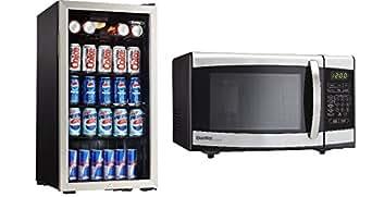 Bundle: Danby DBC120BLS Beverage Center - Stainless Steel & Danby Designer 0.7 cu.ft. Countertop Microwave, Black/Stainless Steel