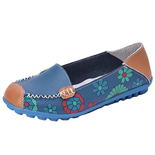 Mordenmiss Mocassino Da Donna In Pelle Floreale Slip-on Driving Mocassini Stile 1 Blu