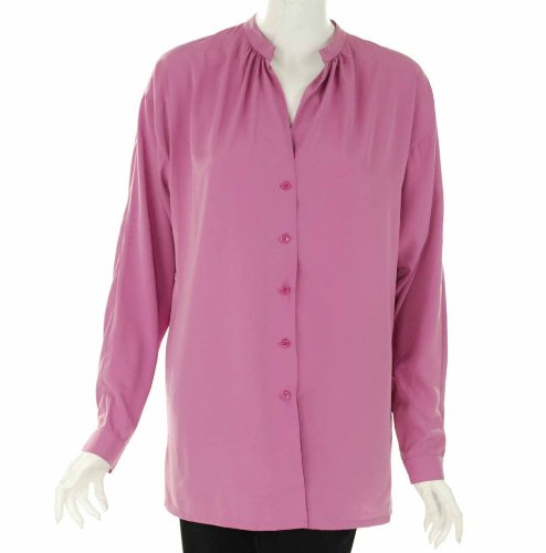 Ellen Tracy Women's Long Sleeve Button Down Blouse in Berry (medium)