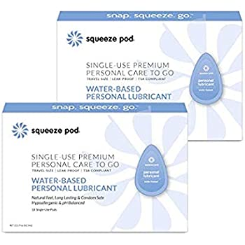Squeeze Pod Water-Based Personal Lubricant - 20 Single-Use Pods - Leakproof, Discreet, Portable & TSA Travel Size. Hypoallergenic Lube for Women, Men, Couples. Natural Feel, Long Lasting WPL7