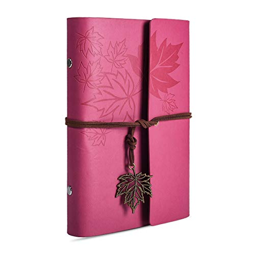 Leather Writing Journal Notebook, 7 Inches Classic Maple Leaf Vintage Spiral Bound Notebook Refillable Diary Sketchbook Gifts with Unlined Travel Journals to Write in for Girls and - Journal Notebook 7 Inch