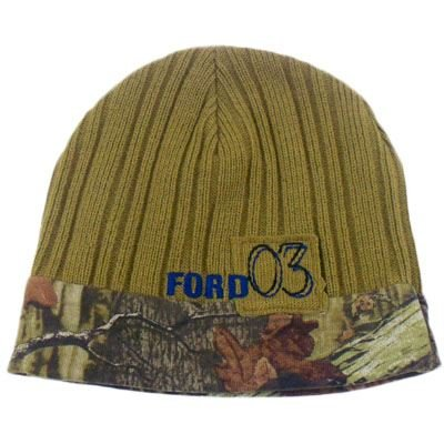 HAT BEANIE SKULLY KNIT FORD MOSSY OAK CAMO REVERSIBLE TWO SIDE GREEN (Mossy Oak Reversible Hat)