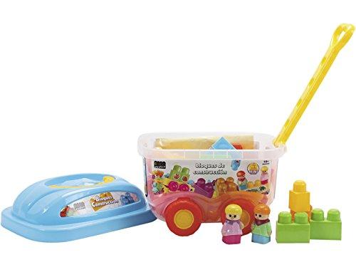 BRICODEDOS Carrito baúl con 35 Piezas Bloques construcción: Amazon.es: Juguetes y juegos