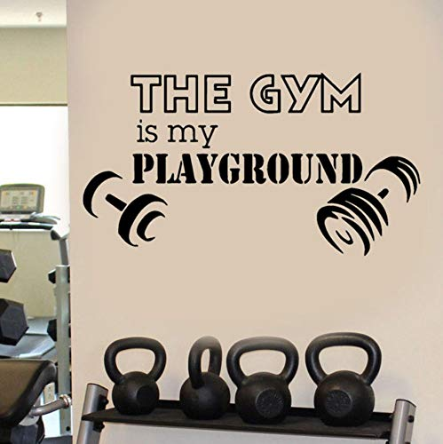 The Gym Is My Playground Tatuajes de pared Deporte Gym Fitness Art Etiqueta de La Pared con Mancuernas Mural Para la Decoración Del Hogar Cita de Gran ...