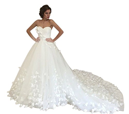 VinBridal 2017 New Off Shoulder Butterfly Royal Train Bridal Gown Wedding Dress by VinBridal