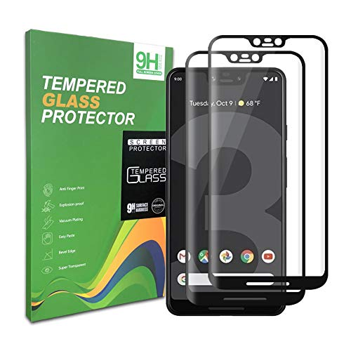 Google Pixel 3 XL Screen Protector, [2pack] Tempered Glass, 9H Hardness, Full Coverage, Bubble Free, Compatible with Google Pixel 3XL