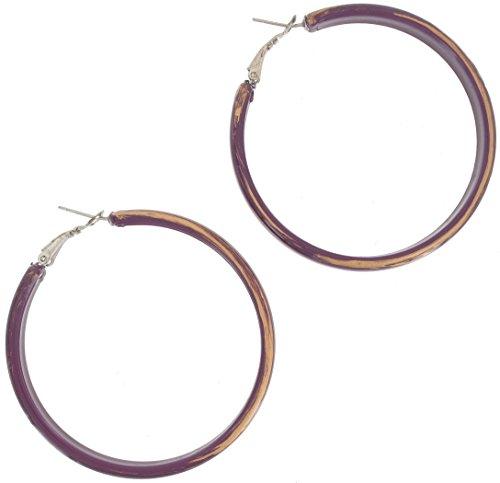 Pierced Earrings Hoop Purple Gold Tone Brushed Paint Plastic 2 1/4