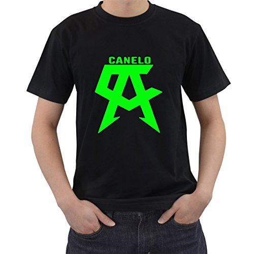 [Saul Alvarez Canelo Boxing Champ T-Shirt Short Sleeve By Saink Black Size M] (Circle Jerk Costume)