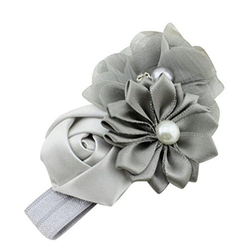 Usstore 1PC Baby Kids Pearl Flower Bowknot Headband Headdress (Gray)