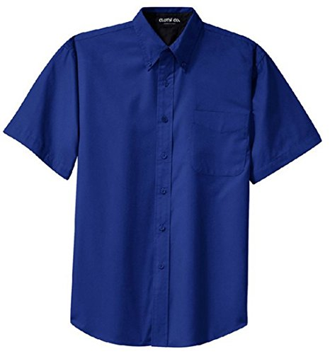 (Clothe Co. Mens Short Sleeve Wrinkle Resistant Easy Care Button Up Shirt, Royal/Classic Navy, XL)