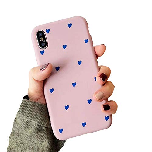 - BONTOUJOUR iPhone XS Max Phone Case, Beautiful Art Polka Dot Flower Little Heart Pattern Serie Cover Case Soft TPU 360 Degree Good Protection- Matte Little Heart-Pink