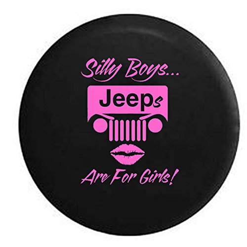 Silly Boys Jeeps are for Girls Spare Tire Cover OEM Vinyl Black 32-33 in