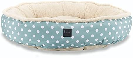 Home Dynamix Nicole Miller Comfy Pooch Pet Bed, 30 Inch Round, Teal Polkadots