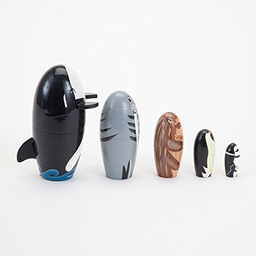 Bits and Pieces - ''Willy and Friends - Matryoshka Dolls - Wooden Russian Nesting Dolls - Sea Life Animal Figurines - Whale, Walrus, Penguin - Stacking Dolls Set of 5 by Bits and Pieces (Image #2)
