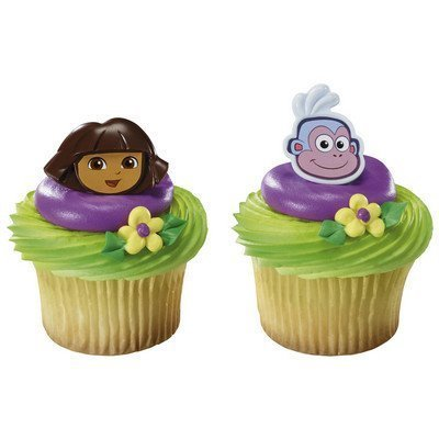 CakeDrake Dora the Explorer and Boots Cupcake Rings - 24 pcs
