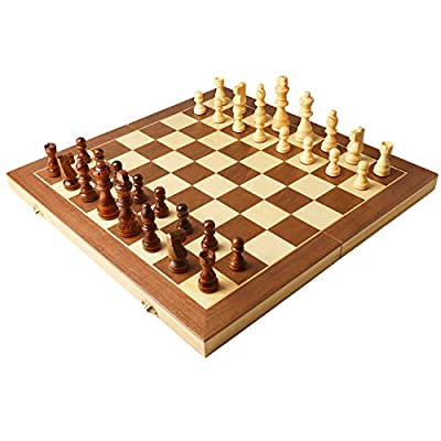"""Wooden Chess Set -15"""" Folding Universal Standard Magnetic Wooden Chess Board Game Set, Perfect Beginner Chess Set for Kids Adults"""