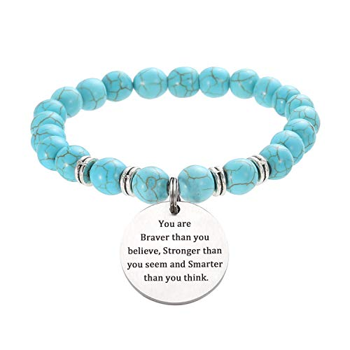 sedmart Turquoise Natural Energy Stone Inspirational Bracelets Round Charm Engraved You are Braver Than You Believe,Stronger Precious Gemstone Healing Crystal Round Beads Bracelet for Women Men