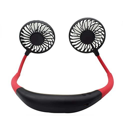 TACY Hands-Free Neckband Fan Sports Personal Fans Wireless & USB Rechargeable Necklace Style Fans Dual-Head Mini Fan (Red) (Fan Necklace)