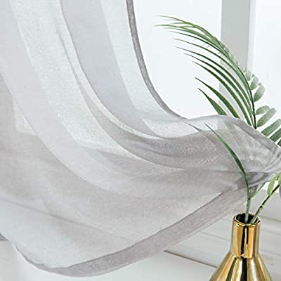 Curtains 92 Inches Long.Corps Gema Sheer Curtains For Living Room Ring Top Bedroom Sheer Light Grey Curtain Panels Ring Top Window Curtains Set 92 Inches Long 1 Pair