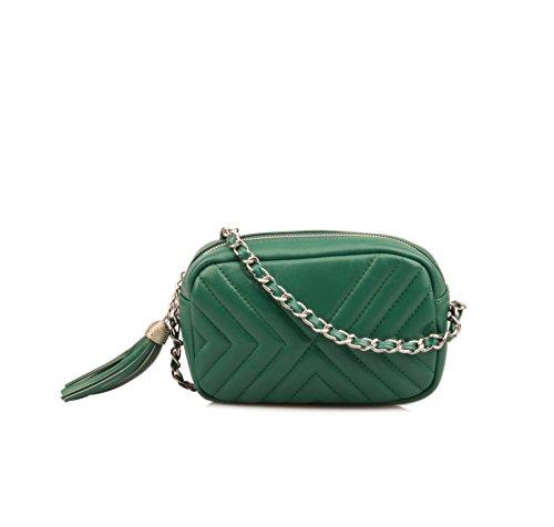 Ainifeel Purse Leather Green Quilted Genuine Wallet Crossbody Women's Small Wallet rqfFrU